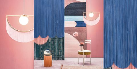 Curtain, Interior design, Blue, Pink, Textile, Window treatment, Room, Furniture, Material property, Interior design,