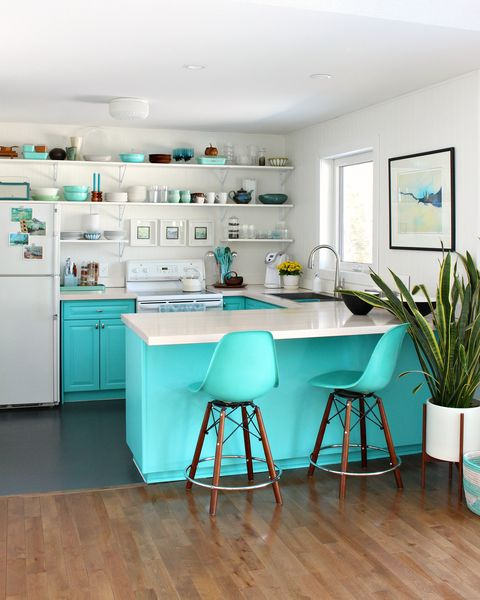 Furniture, Room, Turquoise, Blue, Interior design, Green, Kitchen, Property, Table, Floor,