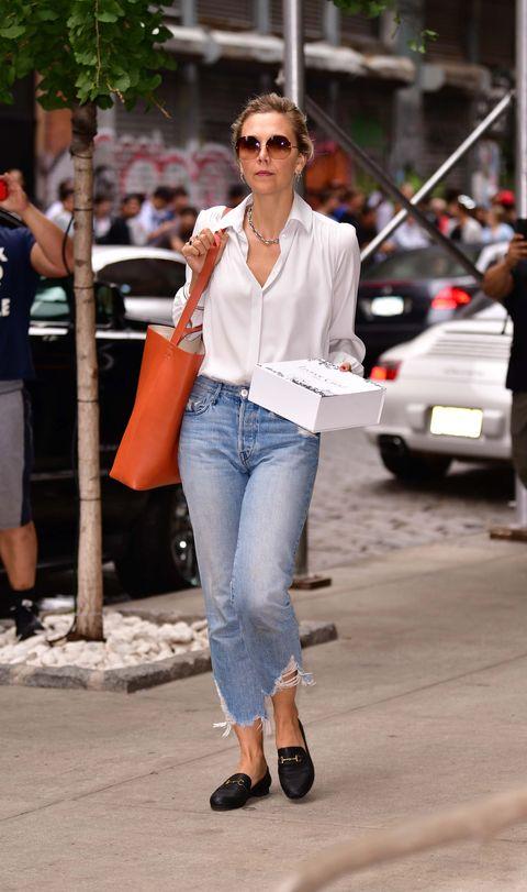 Jeans, Clothing, White, Street fashion, Denim, Fashion, Sunglasses, Snapshot, Eyewear, Footwear,