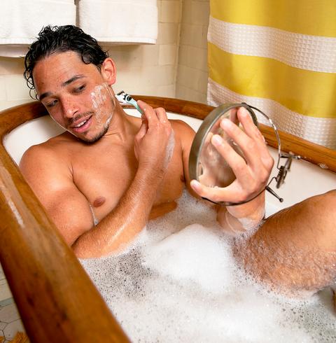 ramos shaving in tub