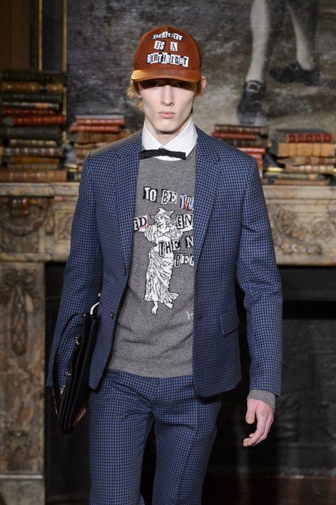 Clothing, Fashion, Street fashion, Beanie, Outerwear, Blazer, Suit, Cap, Jacket, Headgear,