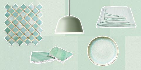 Lampshade, Turquoise, Lighting accessory, Aqua, Design, Room, Pattern, Lamp,
