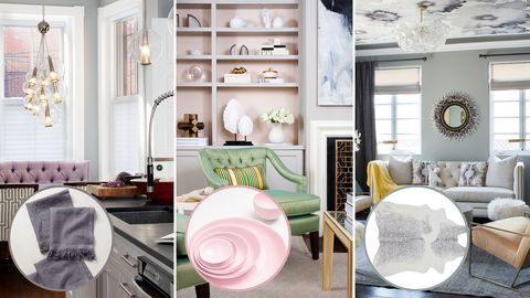 White, Room, Interior design, Furniture, Living room, Pink, Home, Wall, Building, Table,