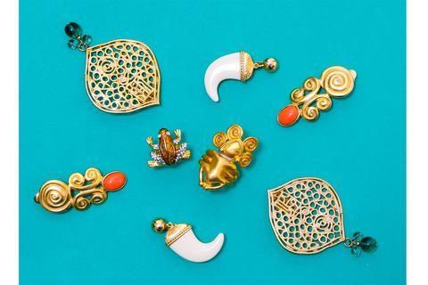 net earrings, vintage tusk earrings, aztec earrings, aztec ring, frog ring