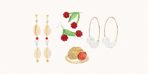 Fashion accessory, Jewellery, Earrings, Food, Fruit, Plant, Illustration,