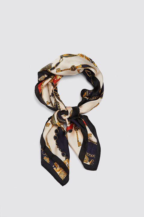 White, Scarf, Fashion accessory, Footwear, Chain, Hair accessory,