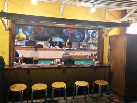 Building, Room, Furniture, Coffeehouse, Table, Restaurant, Bar, Interior design, Bar stool, Café,