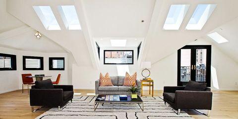 Living room, Room, Interior design, Ceiling, Floor, Property, Wood flooring, Building, Furniture, House,