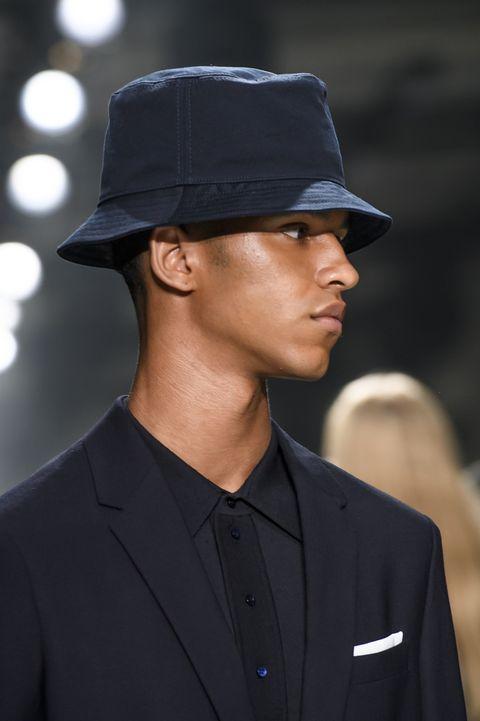 Hat, Clothing, Fashion, Fedora, Headgear, Street fashion, Fashion accessory, Suit, White-collar worker, Model,