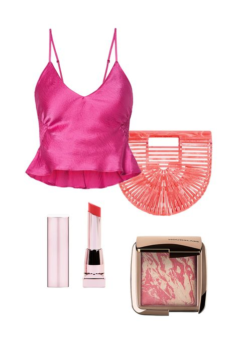 Pink, Clothing, Product, Beauty, Magenta, Material property, Footwear, Peach, camisoles, Crop top,