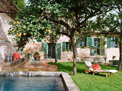 vista del jardín, que cuenta con una pequeña piscina