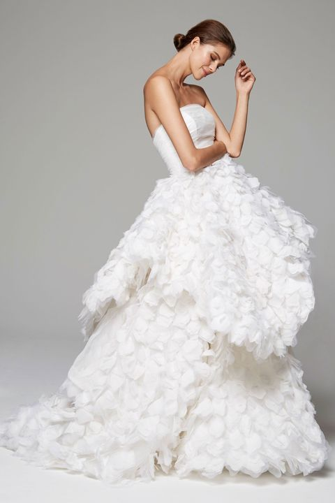 Gown, Wedding dress, Clothing, Dress, Fashion model, Bridal clothing, Bridal party dress, Shoulder, Photograph, Bride,