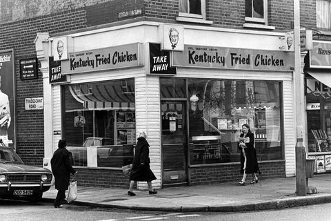 this kentucky fried chicken takeaway restaurant seen in london in 1975 didn't even have indoor dining yet    or the iconic abbreviated 'kfc'