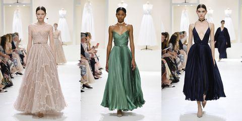 Fashion model, Dress, Clothing, Fashion, Haute couture, Gown, Shoulder, Runway, Bridal party dress, Fashion design,