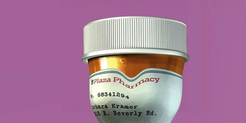 new drugs for women: squished pill bottle
