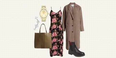 Clothing, Pink, Outerwear, Footwear, Overcoat, Coat, Clothes hanger, Beige, Dress, Sleeve,
