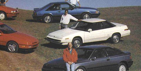 1989 ford mustang lx 50 and probe gt, 1989 honda prelude si, 1989 mazda mx 6 gt, 1989 mitsubishi eclipse gs turbo, 1989 nissan 240sx se, 1989 subaru xt6, 1989 toyota celica gt s