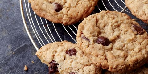 A plate of oatmeal chocolate chip cookies