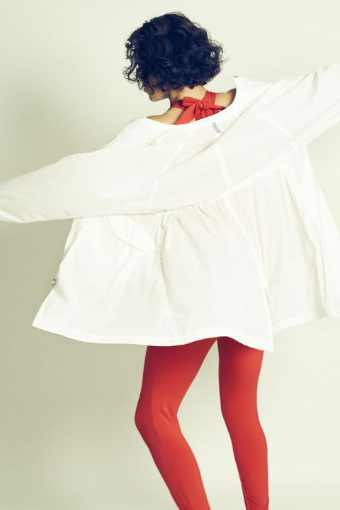 White, Red, Clothing, Shoulder, Tights, Beauty, Lip, Fashion, Leg, Joint,