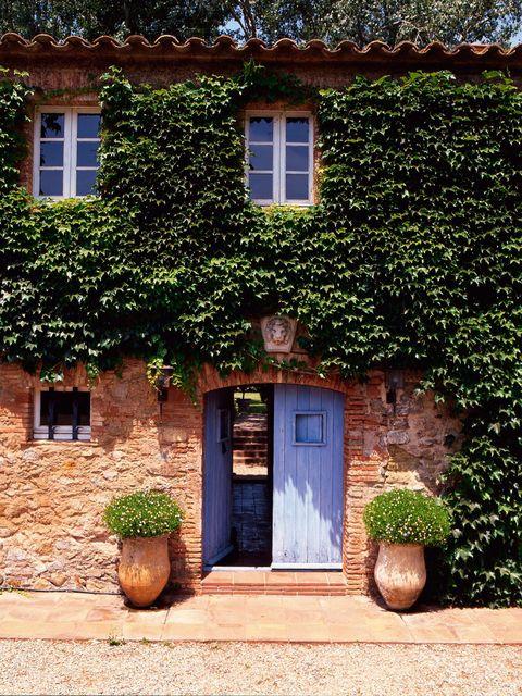 entre la frondosa parra virgen que recubre la fachada de esta casa de campo, destaca la puerta de madera en un suave tono añil