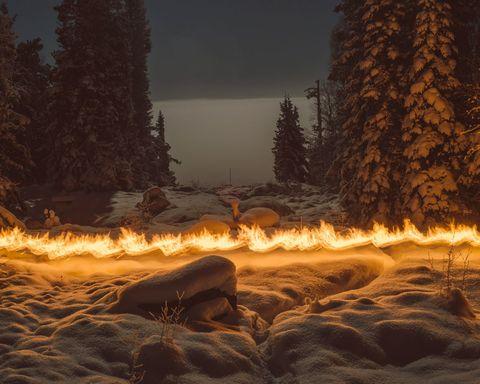 Nature, Geological phenomenon, Natural landscape, Sky, Heat, Biome, Tree, Fire, Screenshot, Atmosphere,