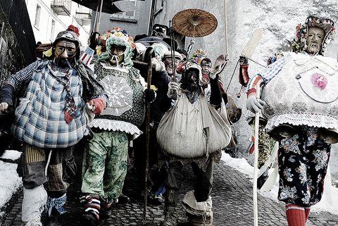 White, Umbrella, Black-and-white, Street, Fashion accessory, Winter, Carnival, Snow, World, Tourism,