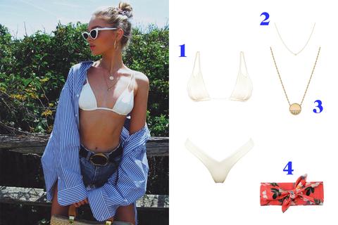 Clothing, Bikini, Denim, Necklace,