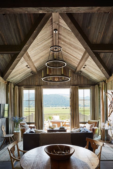 Wood, Room, Interior design, Property, Furniture, Table, Ceiling, Light fixture, Beam, Real estate,
