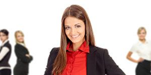 Be Assertive at Work: Girl in Red Shirt and Blazer
