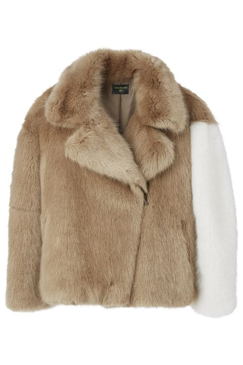 Fur clothing, Fur, Clothing, Outerwear, Beige, Jacket, Sleeve, Coat, Textile, Collar,