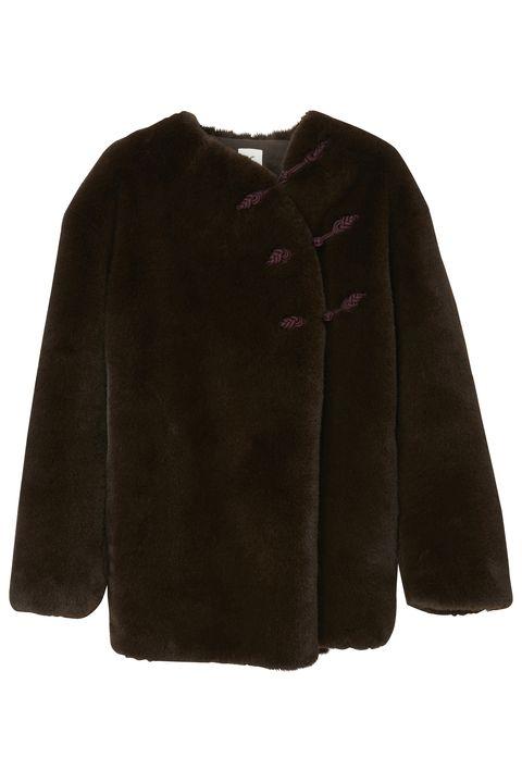 Clothing, Outerwear, Sleeve, Maroon, Jacket, Fur, Coat, Textile, Collar,