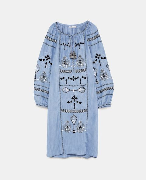 Clothing, Blue, Sleeve, Denim, Robe, Outerwear, Textile, Embroidery, Dress, Pocket,