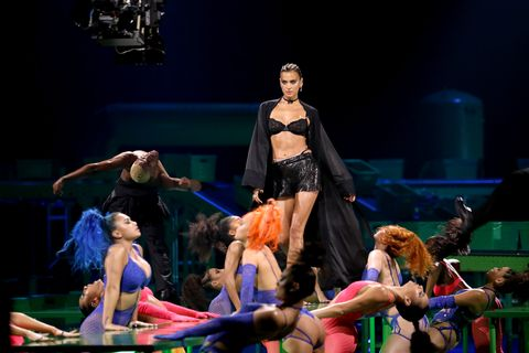 los angeles, california   september 13 irina shayk is seen onstage during rihannas savage x fenty show presented by amazon prime video at los angeles convention center on september 13, 2020 in los angeles, california photo by jerritt clarkgetty images for savage x fenty show presented by amazon prime video