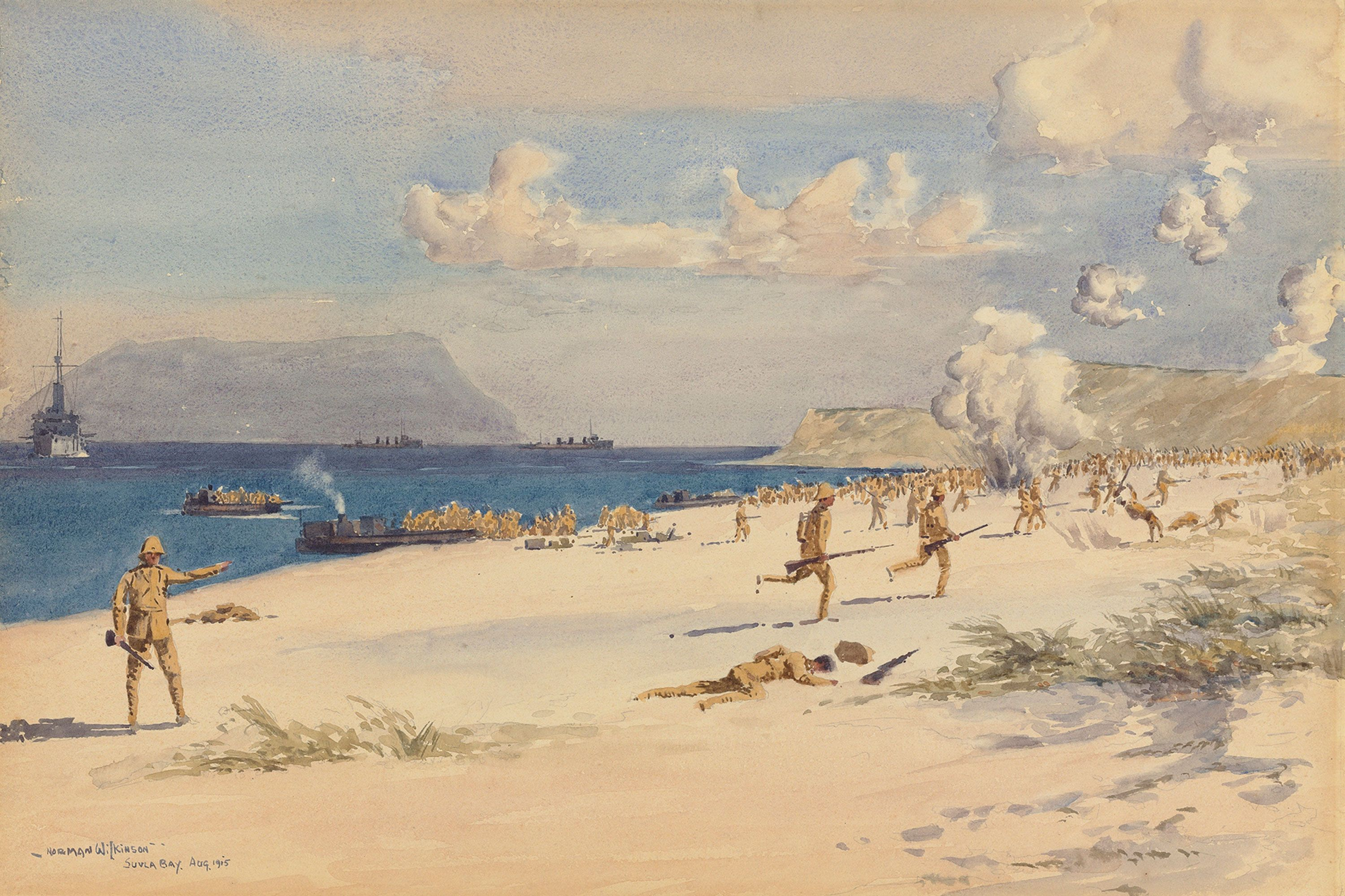 'Troops landing at Suvla Bay, Gallipoli, August 1915', Norman Wilkinson CBE