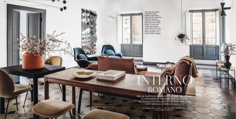 Room, Furniture, Interior design, Living room, Property, Table, Dining room, Building, Home, Lighting,