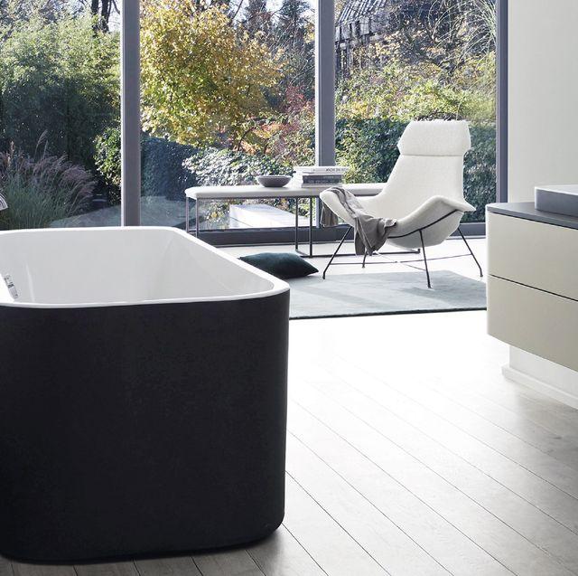 Property, Room, Floor, Tile, Furniture, Tap, Bathroom, Bathtub, Material property, Interior design,