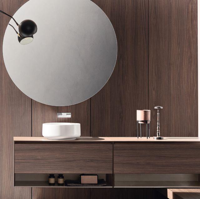 Wall, Floor, Room, Furniture, Interior design, Lighting, Mirror, Wood, Table, Tile,