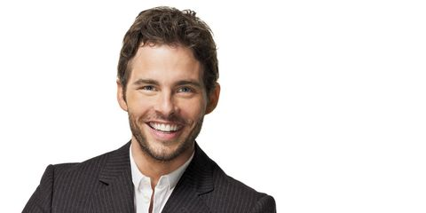 Interview with James Marsden: Actor smiling with hands folded