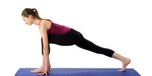Kristen Bell's Yoga Workout: Low Lunge, with Forward Bend Pose