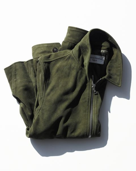 in olive green, the rod bomber stands out from a sea of black and brown leather jackets