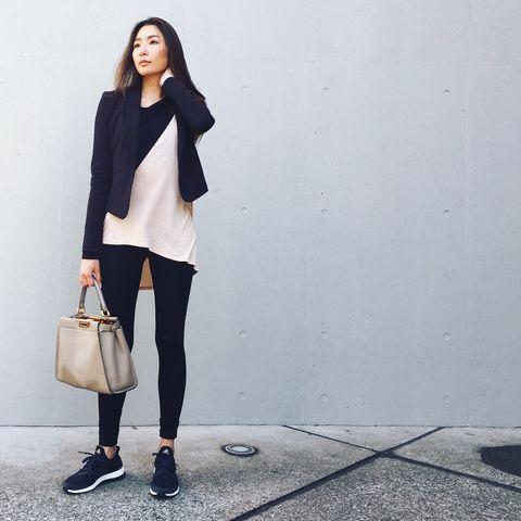 Clothing, White, Street fashion, Shoulder, Fashion, Blazer, Outerwear, Snapshot, Jeans, Footwear,