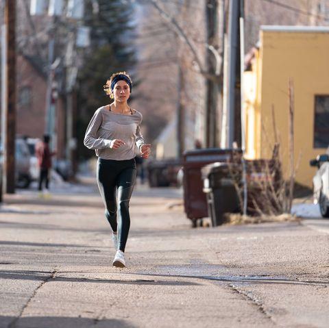 Jogging, Running, Recreation, Snapshot, Pedestrian, Tights, Urban area, Athlete, Street, Street fashion,