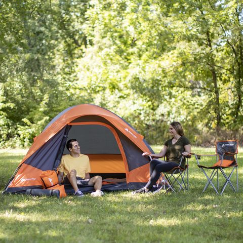 Camping, Tent, State park, Plant community, Tree, Grass, Leisure, Recreation, Woodland, Leaf,