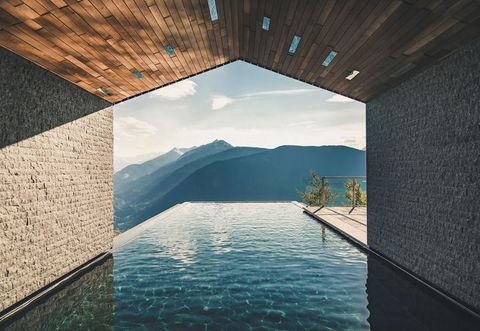 Water, Sky, Blue, Architecture, Reflection, Water resources, House, Mountain, Room, Design,