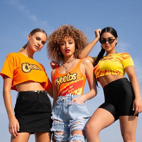 Clothing, Yellow, Fun, T-shirt, Shorts, Youth, Fashion, Photo shoot, Vacation, Summer,
