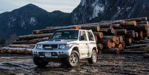 Vehicle, Car, Regularity rally, Off-roading, Sport utility vehicle, Off-road vehicle, Mini SUV, Mountain, Mitsubishi pajero, Landscape,