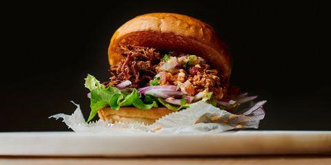 Dish, Food, Cuisine, Pulled pork, Ingredient, Hamburger, Sandwich, Junk food, Bun, Slider,