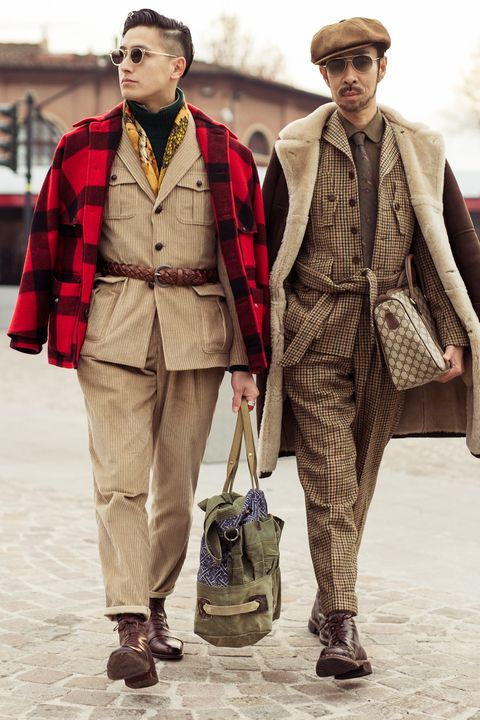Fashion, Clothing, Street fashion, Human, Outerwear, Fashion design, Headgear, Tartan, Beige, Fedora,