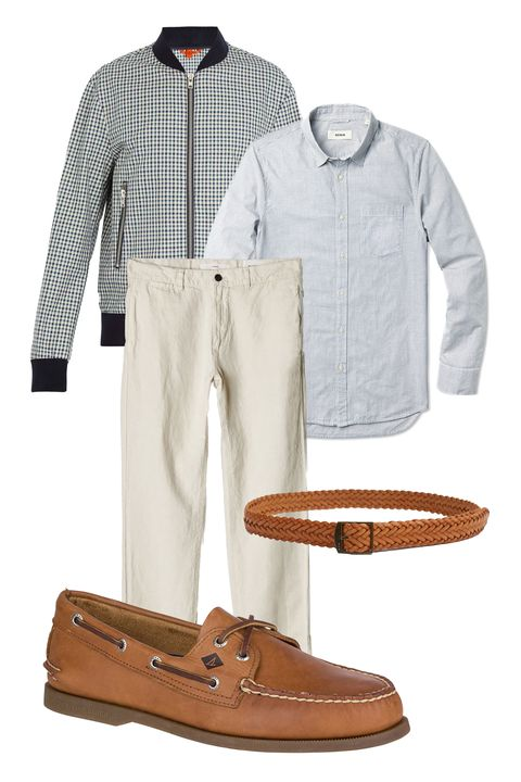 Clothing, Footwear, Brown, Sleeve, Jeans, Dress shirt, Shoe, Outerwear, Trousers, Shirt,