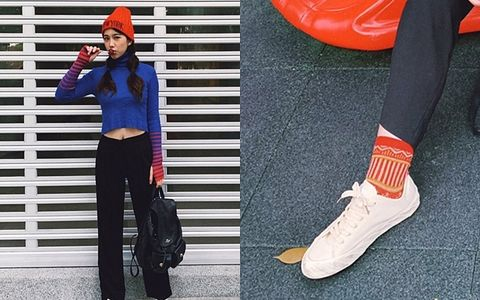 Footwear, Street fashion, Shoe, Clothing, Red, Orange, Fashion, Plimsoll shoe, Sportswear, Ankle,
